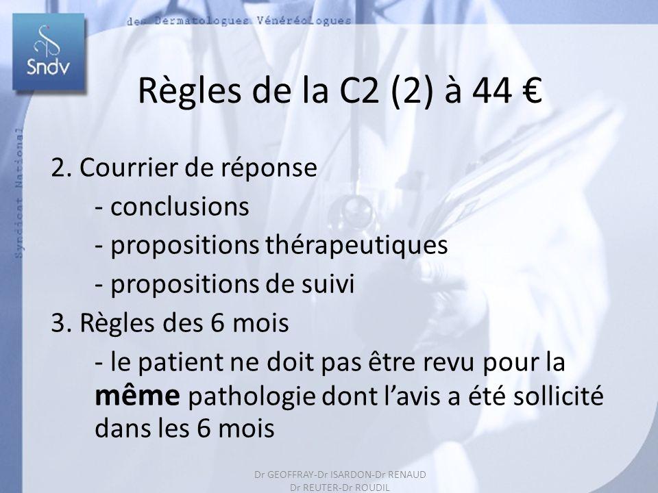 168 Règles de la C2 (2) à 44 2. Courrier de réponse - conclusions - propositions thérapeutiques - propositions de suivi 3. Règles des 6 mois - le pati