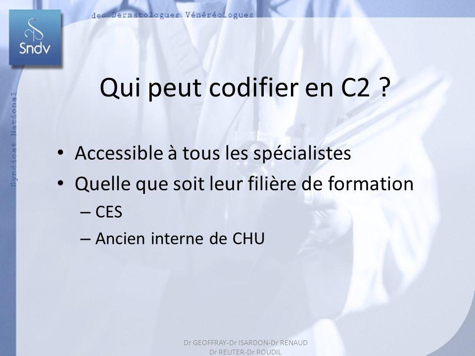 169 Qui peut codifier en C2 ? Accessible à tous les spécialistes Quelle que soit leur filière de formation – CES – Ancien interne de CHU Dr GEOFFRAY-D