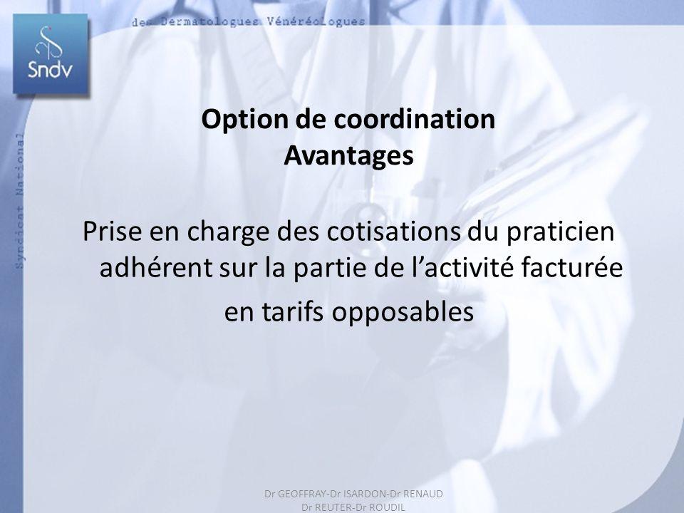 Dr GEOFFRAY-Dr ISARDON-Dr RENAUD Dr REUTER-Dr ROUDIL 179 Option de coordination Avantages Prise en charge des cotisations du praticien adhérent sur la partie de lactivité facturée en tarifs opposables Dr GEOFFRAY-Dr ISARDON-Dr RENAUD Dr REUTER-Dr ROUDIL