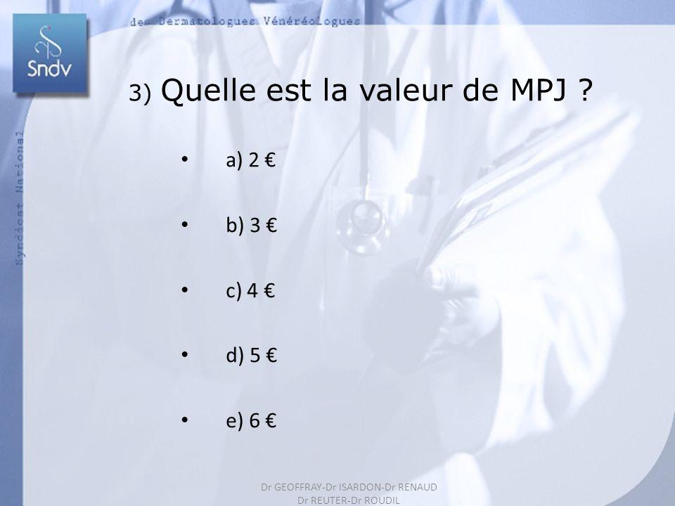 192 3) Quelle est la valeur de MPJ ? a) 2 b) 3 c) 4 d) 5 e) 6 Dr GEOFFRAY-Dr ISARDON-Dr RENAUD Dr REUTER-Dr ROUDIL