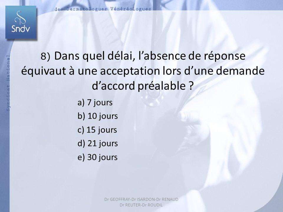 198 8) Dans quel délai, labsence de réponse équivaut à une acceptation lors dune demande daccord préalable ? a) 7 jours b) 10 jours c) 15 jours d) 21