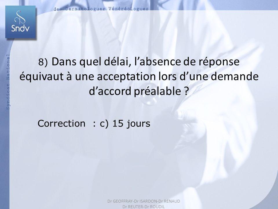 199 8) Dans quel délai, labsence de réponse équivaut à une acceptation lors dune demande daccord préalable ? Correction : c) 15 jours Dr GEOFFRAY-Dr I