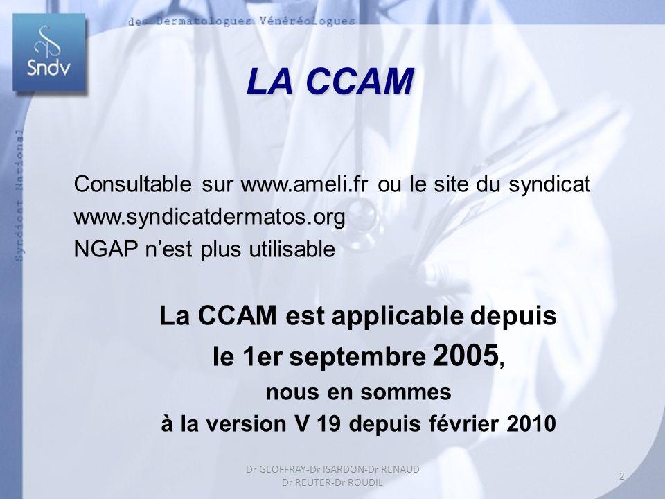 LA CCAM Consultable sur www.ameli.fr ou le site du syndicat www.syndicatdermatos.org NGAP nest plus utilisable La CCAM est applicable depuis le 1er se