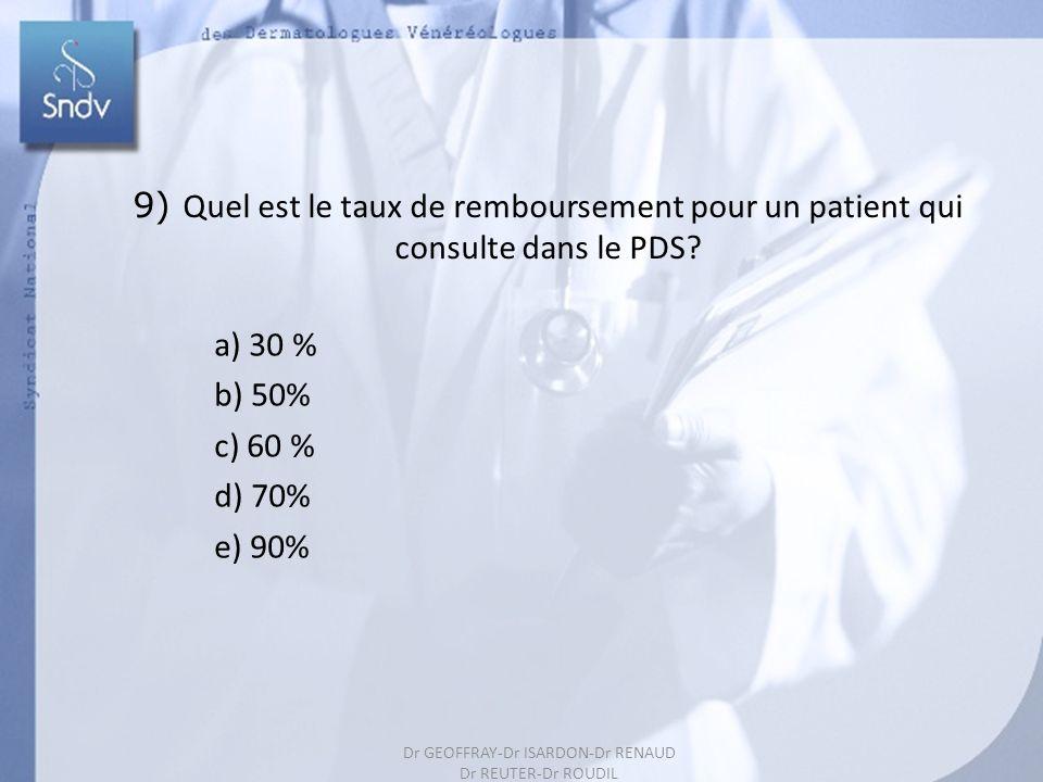 200 9) Quel est le taux de remboursement pour un patient qui consulte dans le PDS? a) 30 % b) 50% c) 60 % d) 70% e) 90% Dr GEOFFRAY-Dr ISARDON-Dr RENA