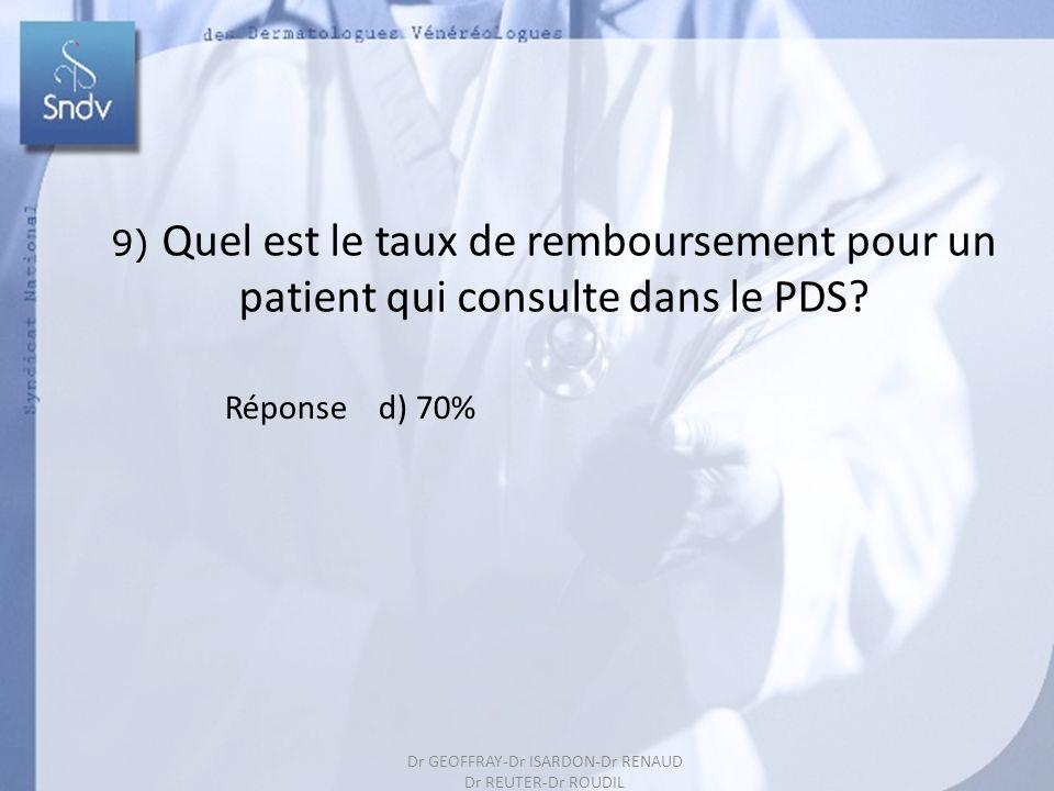 201 9) Quel est le taux de remboursement pour un patient qui consulte dans le PDS? Réponse d) 70% Dr GEOFFRAY-Dr ISARDON-Dr RENAUD Dr REUTER-Dr ROUDIL