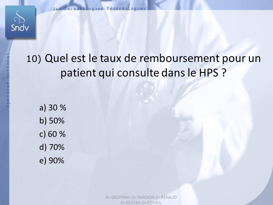 202 10) Quel est le taux de remboursement pour un patient qui consulte dans le HPS ? a) 30 % b) 50% c) 60 % d) 70% e) 90% Dr GEOFFRAY-Dr ISARDON-Dr RE