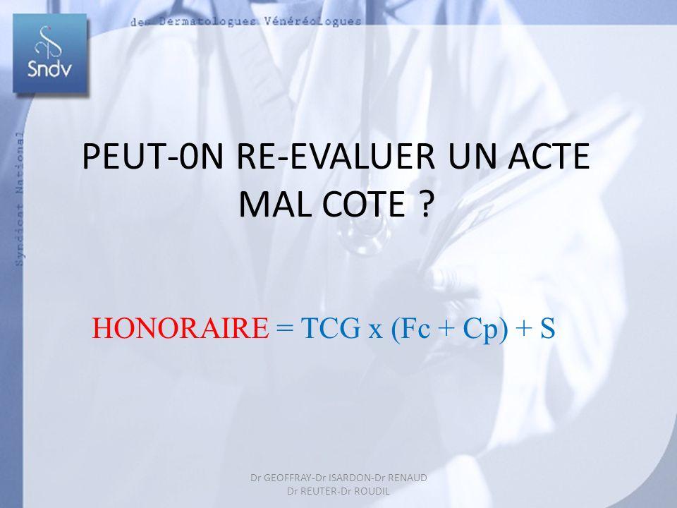 37 PEUT-0N RE-EVALUER UN ACTE MAL COTE ? HONORAIRE = TCG x (Fc + Cp) + S Dr GEOFFRAY-Dr ISARDON-Dr RENAUD Dr REUTER-Dr ROUDIL