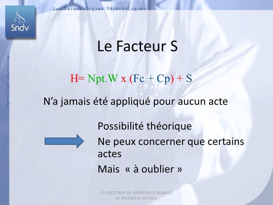39 Le Facteur S H= Npt.W x (Fc + Cp) + S Na jamais été appliqué pour aucun acte Possibilité théorique Ne peux concerner que certains actes Mais « à oublier » Dr GEOFFRAY-Dr ISARDON-Dr RENAUD Dr REUTER-Dr ROUDIL