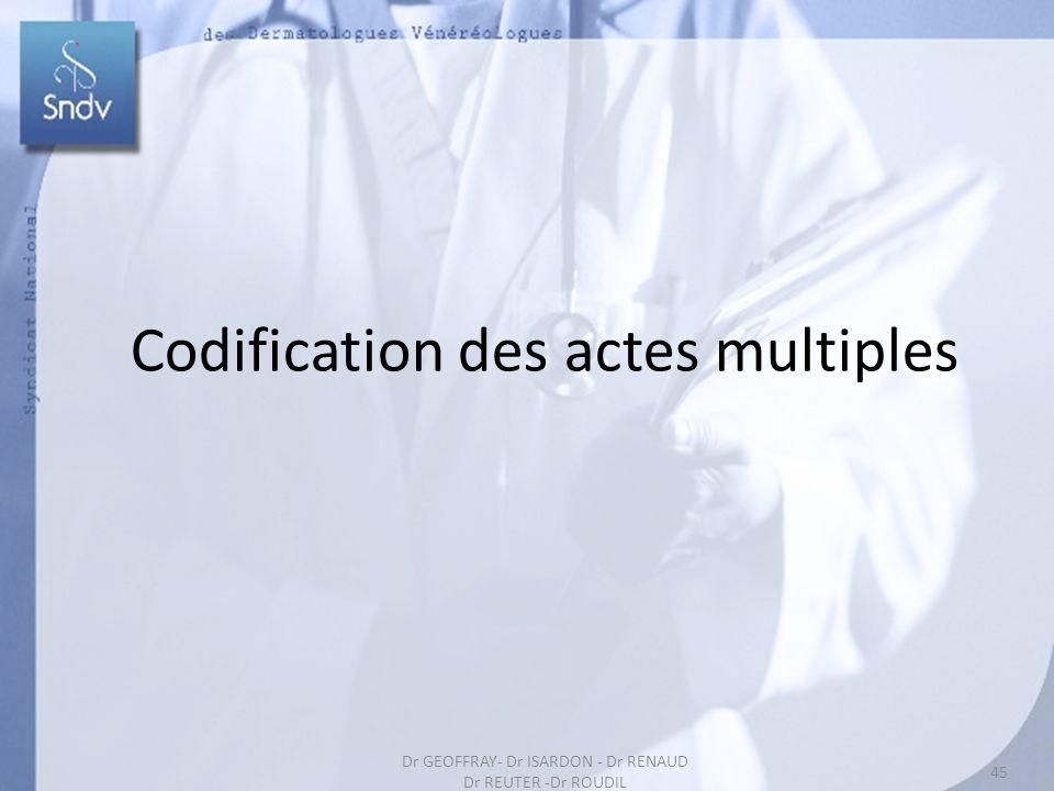 45 Codification des actes multiples 45 Dr GEOFFRAY- Dr ISARDON - Dr RENAUD Dr REUTER -Dr ROUDIL