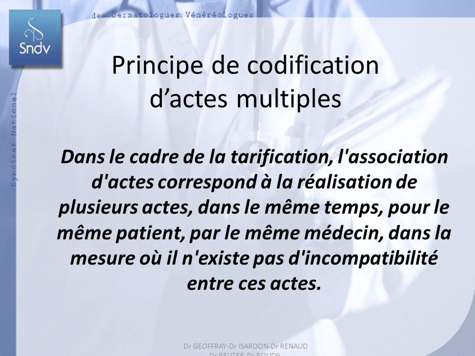 46 Principe de codification dactes multiples Dans le cadre de la tarification, l association d actes correspond à la réalisation de plusieurs actes, dans le même temps, pour le même patient, par le même médecin, dans la mesure où il n existe pas d incompatibilité entre ces actes.