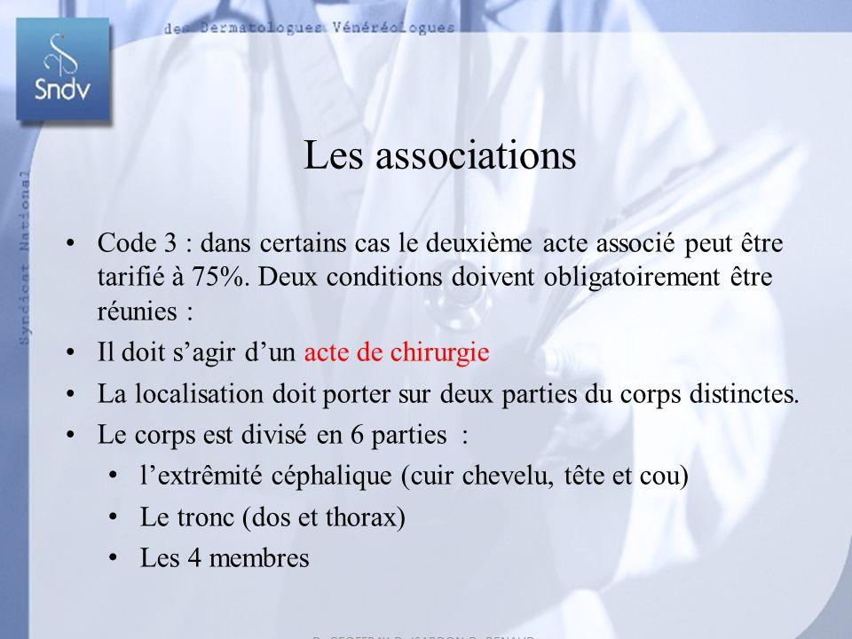 Dr GEOFFRAY-Dr ISARDON-Dr RENAUD Dr REUTER-Dr ROUDIL 52 Les associations Code 3 : dans certains cas le deuxième acte associé peut être tarifié à 75%.