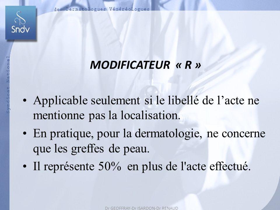 Dr GEOFFRAY-Dr ISARDON-Dr RENAUD Dr REUTER-Dr ROUDIL 56 MODIFICATEUR « R » Applicable seulement si le libellé de lacte ne mentionne pas la localisation.