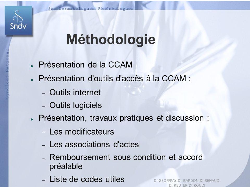 6 Dr GEOFFRAY-Dr ISARDON-Dr RENAUD Dr REUTER-Dr ROUDIL Méthodologie Présentation de la CCAM Présentation d'outils d'accès à la CCAM : Outils internet