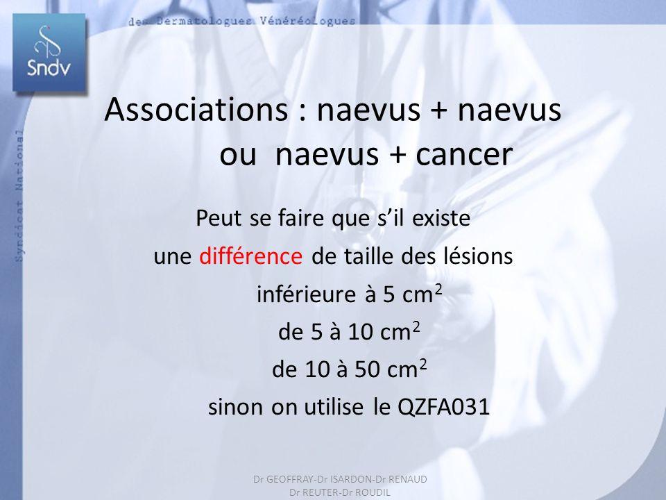 62 Associations : naevus + naevus ou naevus + cancer Peut se faire que sil existe une différence de taille des lésions inférieure à 5 cm 2 de 5 à 10 cm 2 de 10 à 50 cm 2 sinon on utilise le QZFA031 Dr GEOFFRAY-Dr ISARDON-Dr RENAUD Dr REUTER-Dr ROUDIL