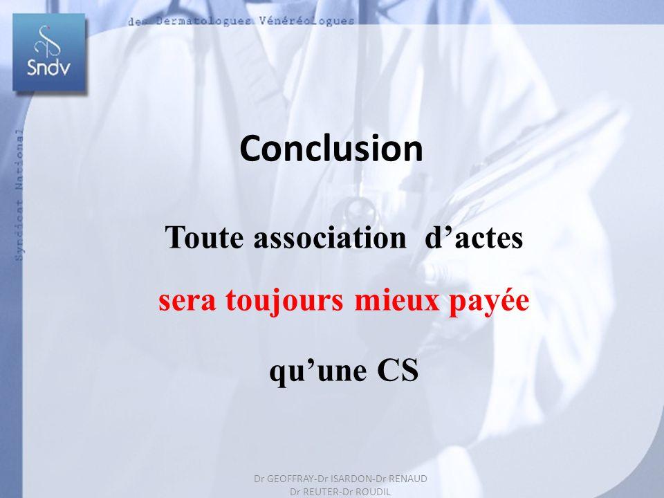 67 Toute association dactes sera toujours mieux payée quune CS Conclusion Dr GEOFFRAY-Dr ISARDON-Dr RENAUD Dr REUTER-Dr ROUDIL