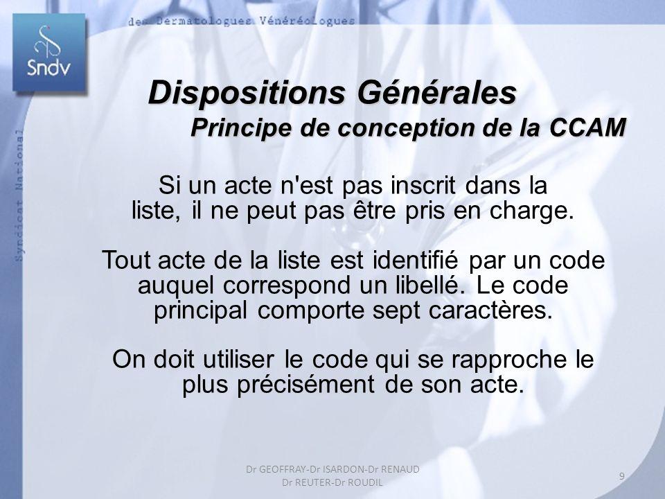 Dispositions Générales Principe de conception de la CCAM Principe de conception de la CCAM Si un acte n'est pas inscrit dans la liste, il ne peut pas