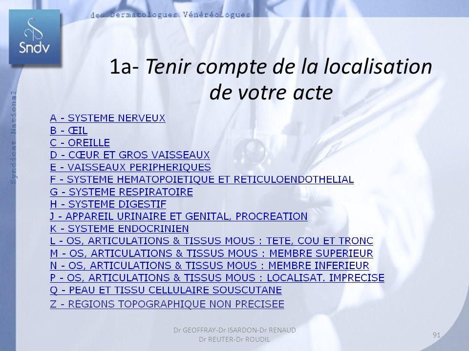 1a- Tenir compte de la localisation de votre acte 91 Dr GEOFFRAY-Dr ISARDON-Dr RENAUD Dr REUTER-Dr ROUDIL