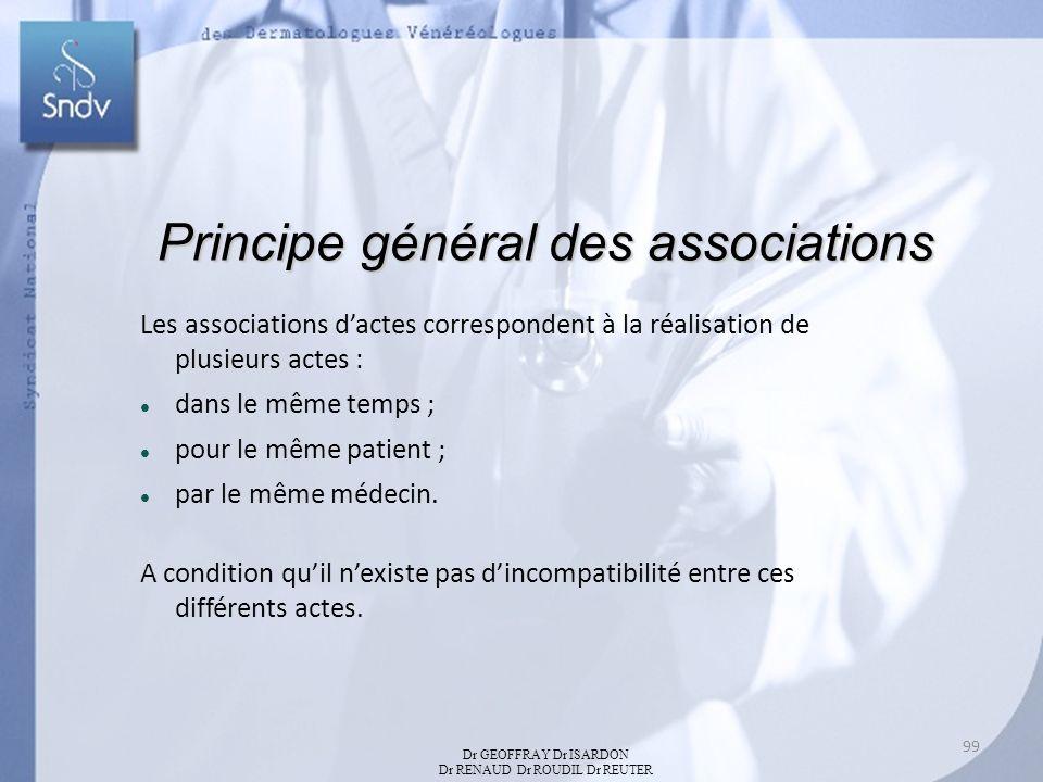 Principe général des associations Les associations dactes correspondent à la réalisation de plusieurs actes : dans le même temps ; pour le même patient ; par le même médecin.