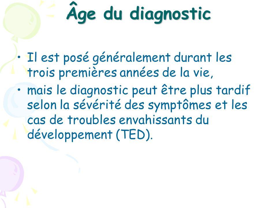 Âge du diagnostic Il est posé généralement durant les trois premières années de la vie, mais le diagnostic peut être plus tardif selon la sévérité des
