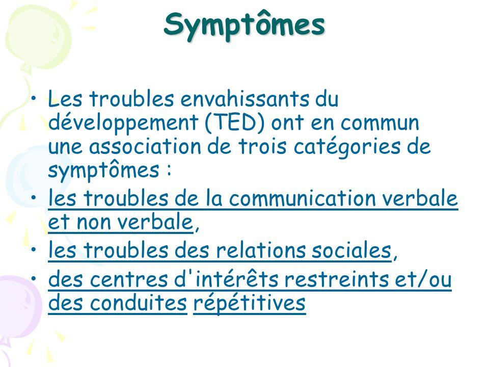 Symptômes Les troubles envahissants du développement (TED) ont en commun une association de trois catégories de symptômes : les troubles de la communi