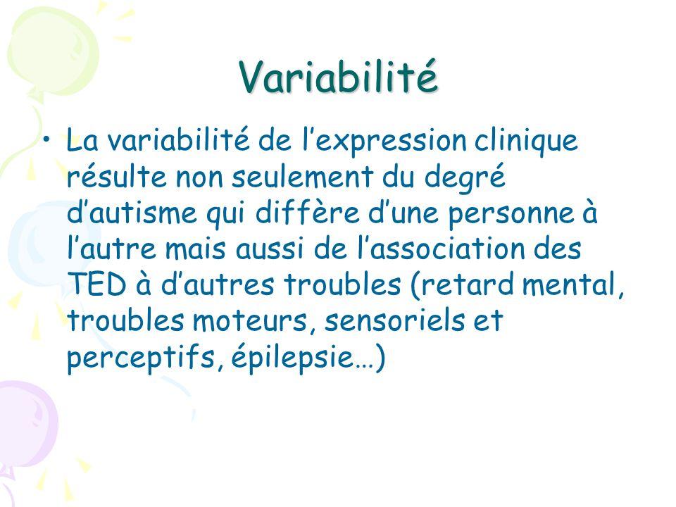 Variabilité La variabilité de lexpression clinique résulte non seulement du degré dautisme qui diffère dune personne à lautre mais aussi de lassociati