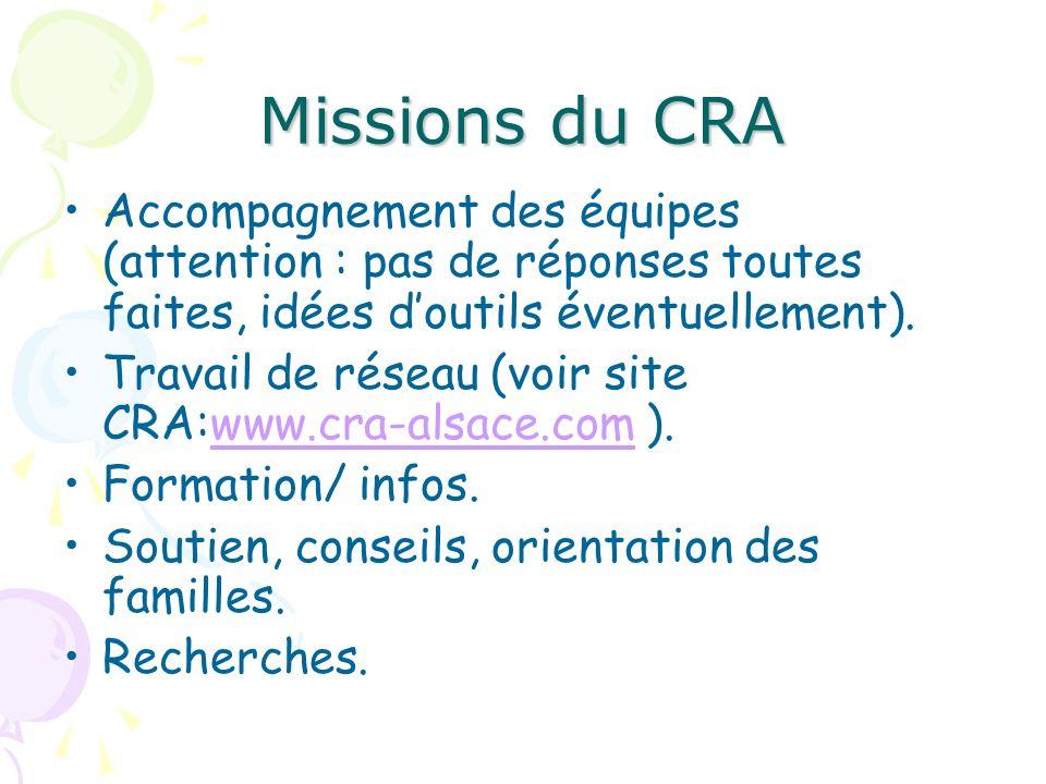 Missions du CRA Accompagnement des équipes (attention : pas de réponses toutes faites, idées doutils éventuellement). Travail de réseau (voir site CRA