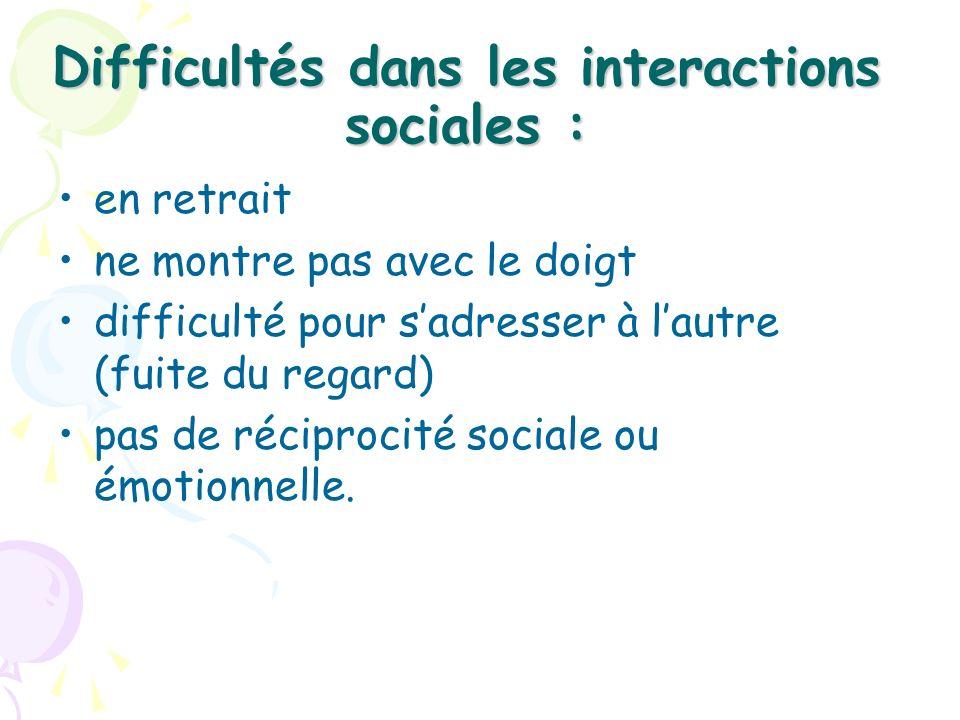Difficultés dans les interactions sociales : en retrait ne montre pas avec le doigt difficulté pour sadresser à lautre (fuite du regard) pas de récipr