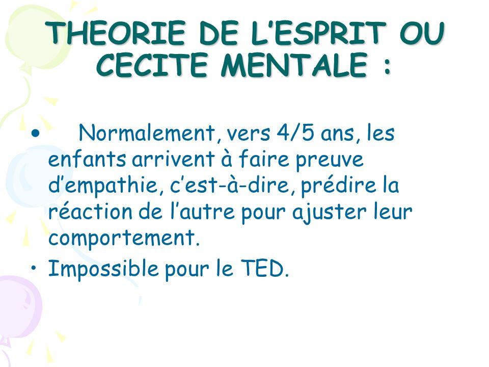THEORIE DE LESPRIT OU CECITE MENTALE : Normalement, vers 4/5 ans, les enfants arrivent à faire preuve dempathie, cest-à-dire, prédire la réaction de l