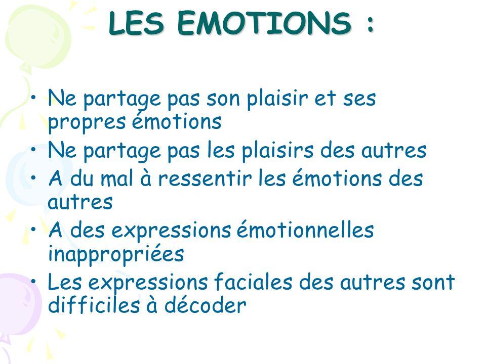 LES EMOTIONS : Ne partage pas son plaisir et ses propres émotions Ne partage pas les plaisirs des autres A du mal à ressentir les émotions des autres