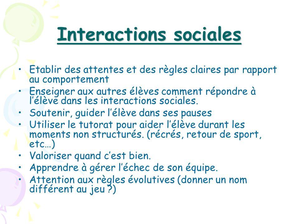 Interactions sociales Etablir des attentes et des règles claires par rapport au comportement Enseigner aux autres élèves comment répondre à lélève dan