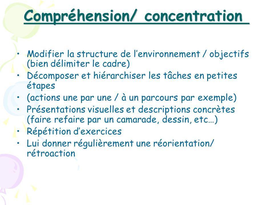 Compréhension/ concentration Compréhension/ concentration Modifier la structure de lenvironnement / objectifs (bien délimiter le cadre) Décomposer et