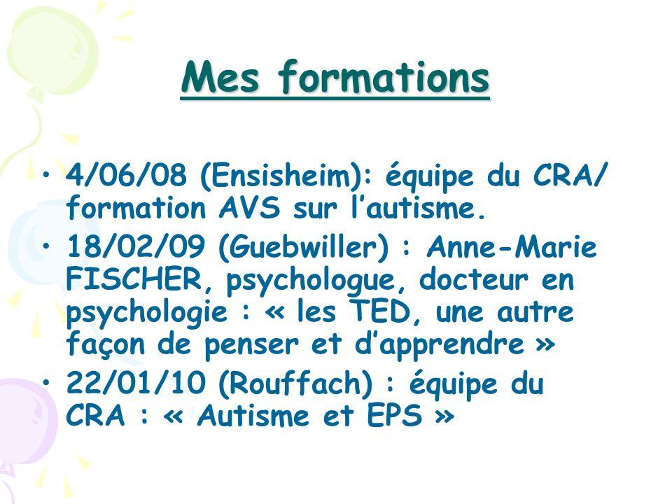Mes formations 4/06/08 (Ensisheim): équipe du CRA/ formation AVS sur lautisme. 18/02/09 (Guebwiller) : Anne-Marie FISCHER, psychologue, docteur en psy