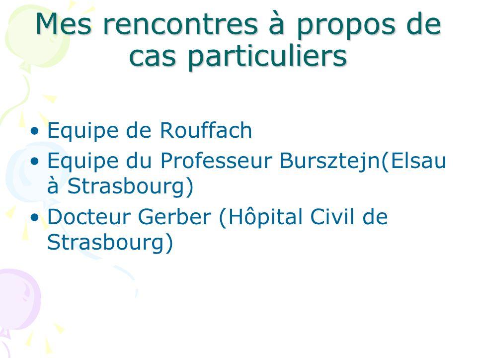 Mes rencontres à propos de cas particuliers Equipe de Rouffach Equipe du Professeur Bursztejn(Elsau à Strasbourg) Docteur Gerber (Hôpital Civil de Str