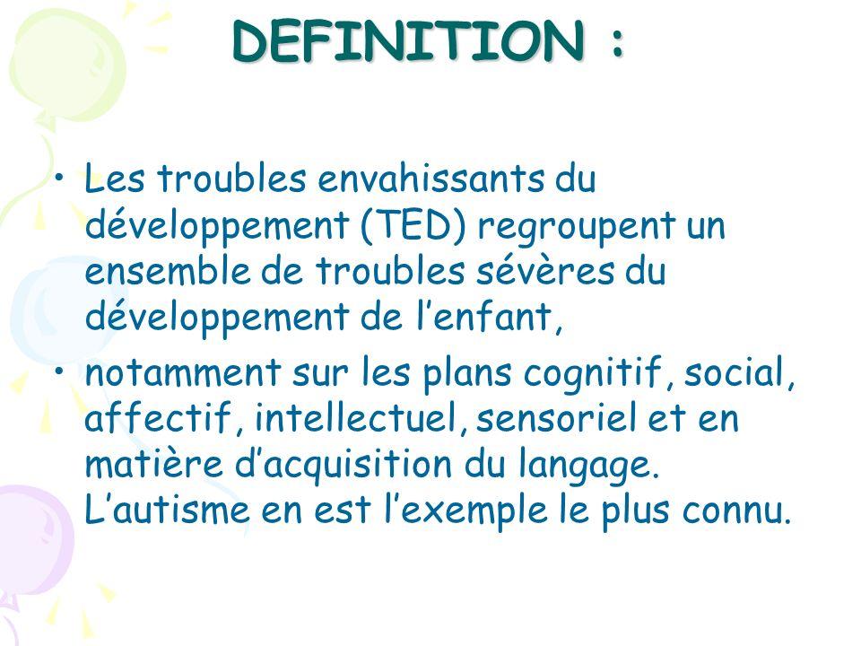 DEFINITION : Les troubles envahissants du développement (TED) regroupent un ensemble de troubles sévères du développement de lenfant, notamment sur le