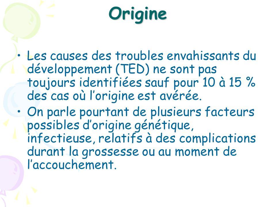 Origine Les causes des troubles envahissants du développement (TED) ne sont pas toujours identifiées sauf pour 10 à 15 % des cas où lorigine est avéré