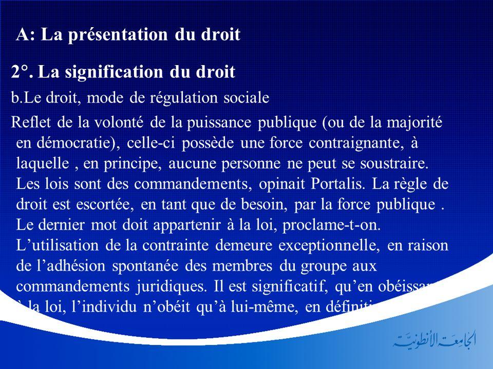 A: La présentation du droit 2. La signification du droit b.Le droit, mode de régulation sociale Reflet de la volonté de la puissance publique (ou de l