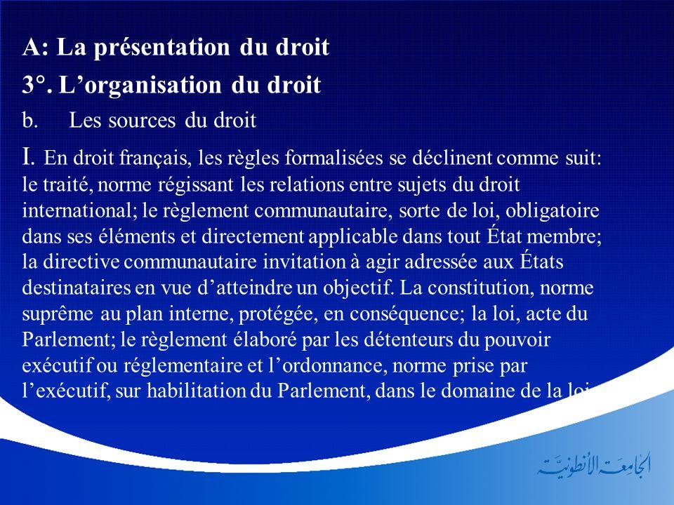 A: La présentation du droit 3. Lorganisation du droit b. Les sources du droit I. En droit français, les règles formalisées se déclinent comme suit: le