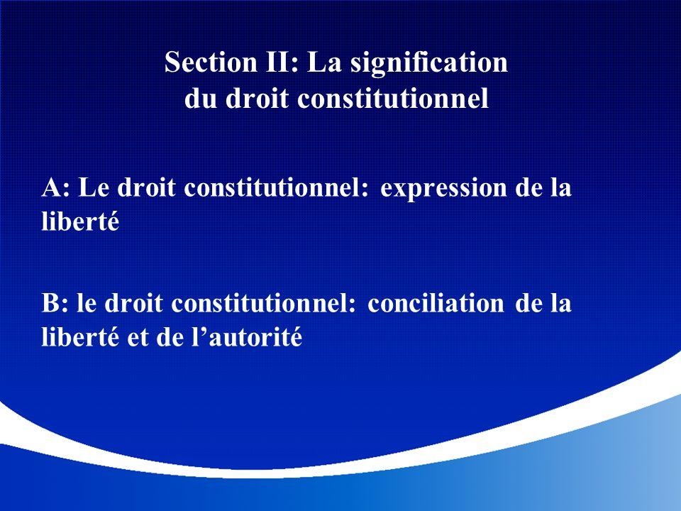 Section II: La signification du droit constitutionnel A: Le droit constitutionnel: expression de la liberté B: le droit constitutionnel: conciliation