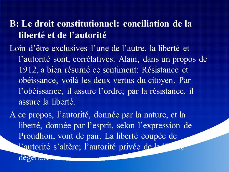 B: Le droit constitutionnel: conciliation de la liberté et de lautorité Loin dêtre exclusives lune de lautre, la liberté et lautorité sont, corrélativ