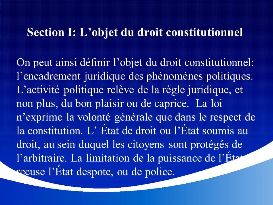 Section I: Lobjet du droit constitutionnel On peut ainsi définir lobjet du droit constitutionnel: lencadrement juridique des phénomènes politiques. La