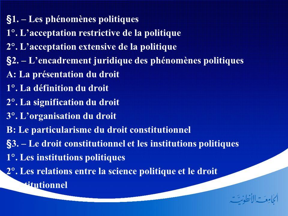 §1. – Les phénomènes politiques 1. Lacceptation restrictive de la politique 2. Lacceptation extensive de la politique §2. – Lencadrement juridique des