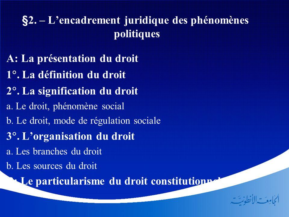 §2. – Lencadrement juridique des phénomènes politiques A: La présentation du droit 1. La définition du droit 2. La signification du droit a. Le droit,
