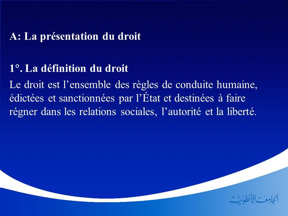 A: La présentation du droit 1. La définition du droit Le droit est lensemble des règles de conduite humaine, édictées et sanctionnées par lÉtat et des