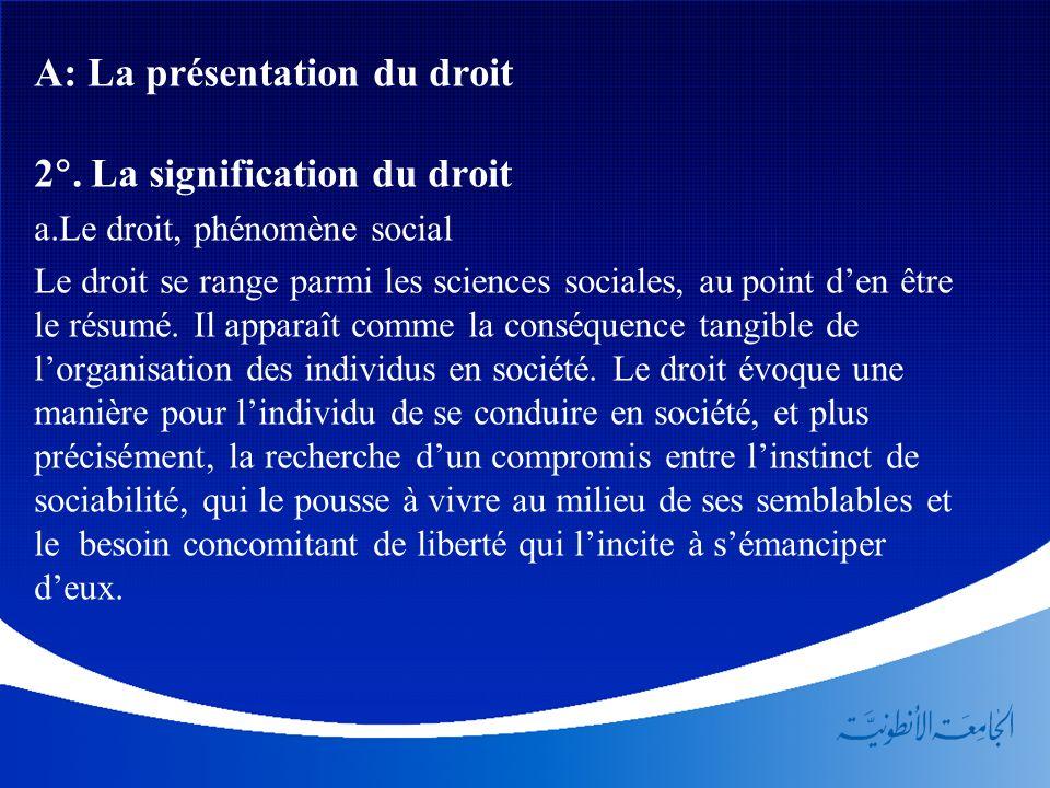 A: La présentation du droit 2. La signification du droit a.Le droit, phénomène social Le droit se range parmi les sciences sociales, au point den être