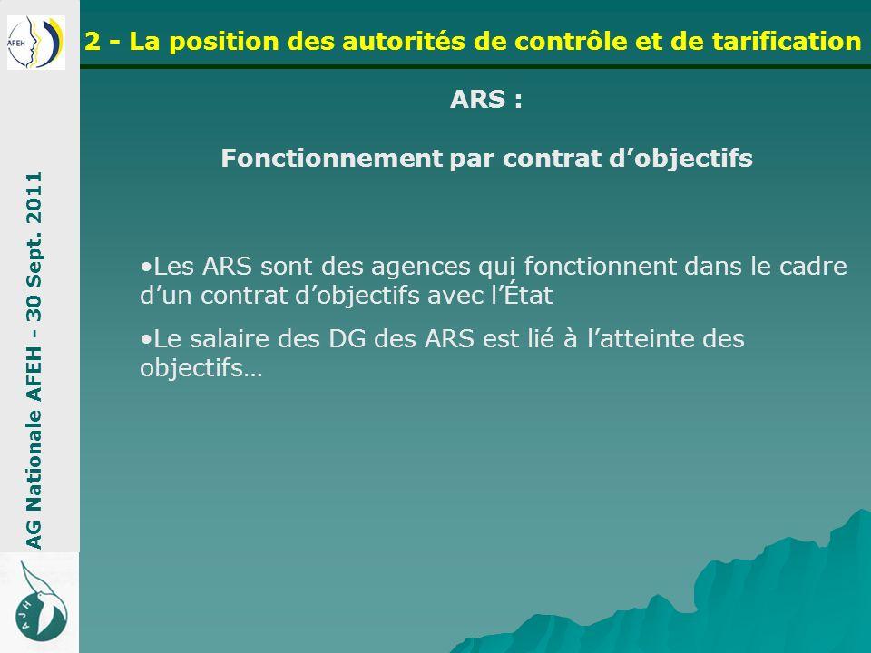 ARS : Fonctionnement par contrat dobjectifs AG Nationale AFEH - 30 Sept. 2011 2 - La position des autorités de contrôle et de tarification Les ARS son