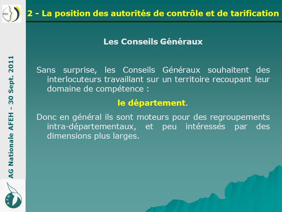 Les Conseils Généraux Sans surprise, les Conseils Généraux souhaitent des interlocuteurs travaillant sur un territoire recoupant leur domaine de compé