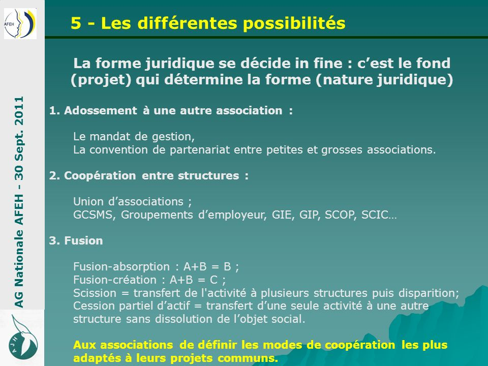5 - Les différentes possibilités AG Nationale AFEH - 30 Sept. 2011 La forme juridique se décide in fine : cest le fond (projet) qui détermine la forme