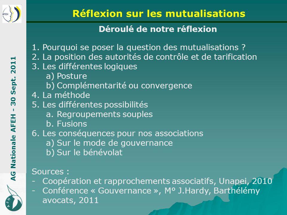 Déroulé de notre réflexion 1.Pourquoi se poser la question des mutualisations ? 2.La position des autorités de contrôle et de tarification 3.Les diffé