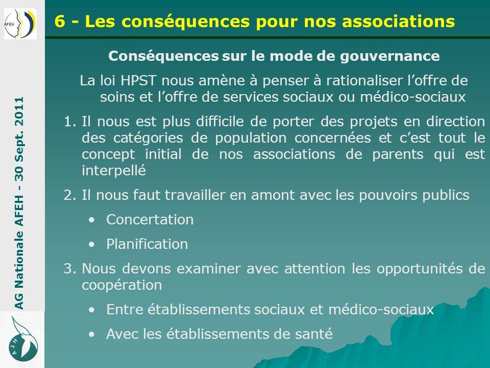 Conséquences sur le mode de gouvernance La loi HPST nous amène à penser à rationaliser loffre de soins et loffre de services sociaux ou médico-sociaux
