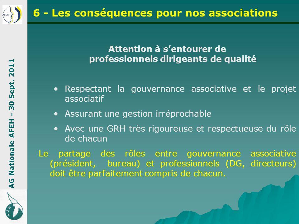 Attention à sentourer de professionnels dirigeants de qualité Respectant la gouvernance associative et le projet associatif Assurant une gestion irrép